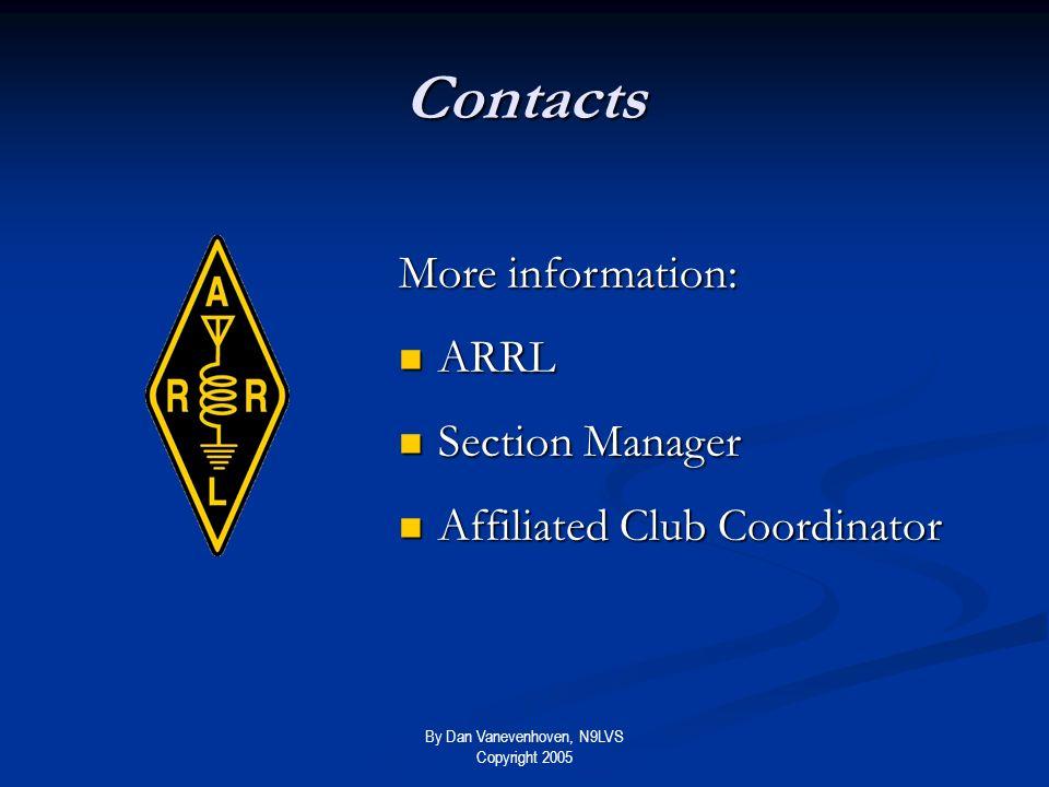 By Dan Vanevenhoven, N9LVS Copyright 2005 Contacts More information: ARRL ARRL Section Manager Section Manager Affiliated Club Coordinator Affiliated