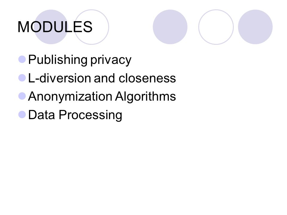 MODULES Publishing privacy L-diversion and closeness Anonymization Algorithms Data Processing