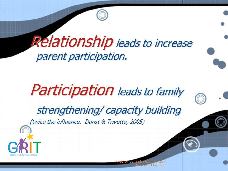 prepared by: Barb Reid, The GRIT Program, Edmonton Relationship leads to increase parent participation. Participation leads to family strengthening/ c