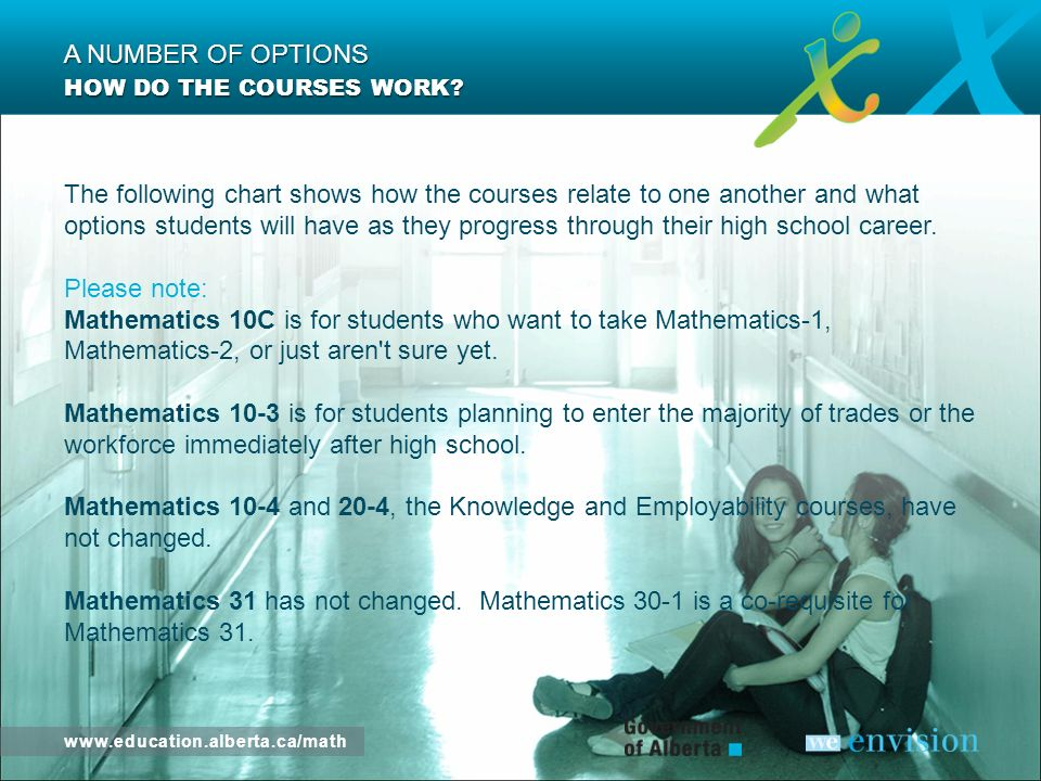 www.education.alberta.ca/math HOW DO THE COURSES WORK? A NUMBER OF OPTIONS
