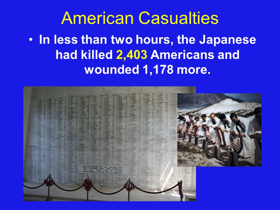 American Casualties In less than two hours, the Japanese had killed 2,403 Americans and wounded 1,178 more.