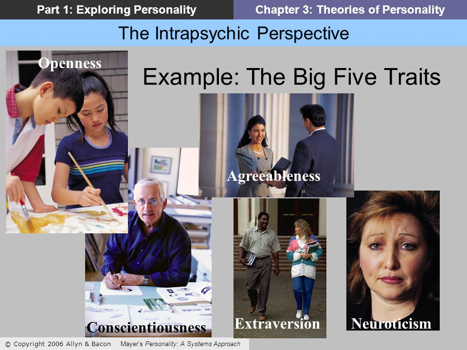 The Intrapsychic Perspective © Copyright 2006 Allyn & Bacon Mayers Personality: A Systems Approach Part 1: Exploring PersonalityChapter 3: Theories of Personality Example: The Big Five Traits NeuroticismExtraversion Agreeableness Openness Conscientiousness