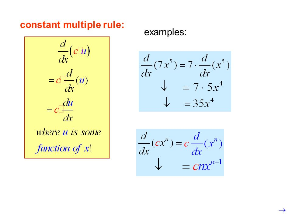 examples: constant multiple rule: