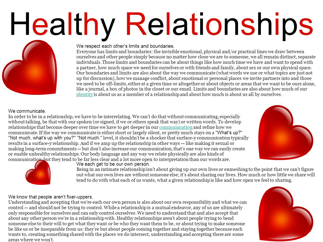 Healthy Relationships We respect each other's limits and boundaries. Everyone has limits and boundaries: the invisible emotional, physical and/or prac