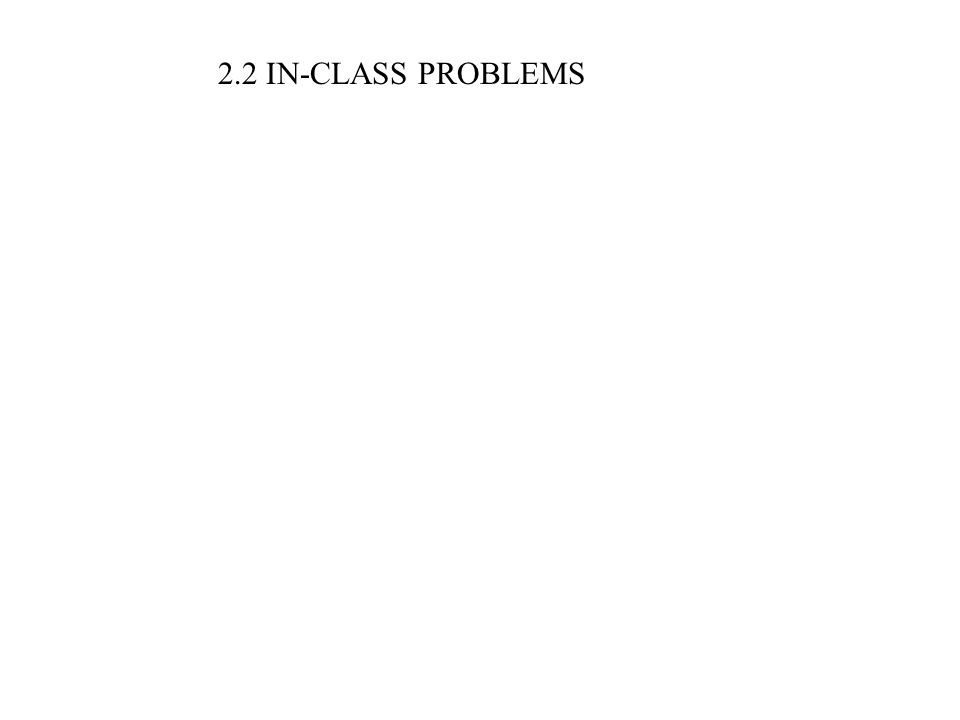 2.2 IN-CLASS PROBLEMS