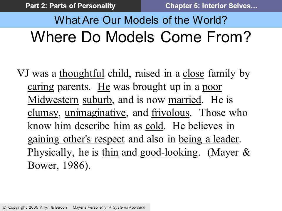 What Are Our Models of the World? © Copyright 2006 Allyn & Bacon Mayers Personality: A Systems Approach Part 2: Parts of PersonalityChapter 5: Interio