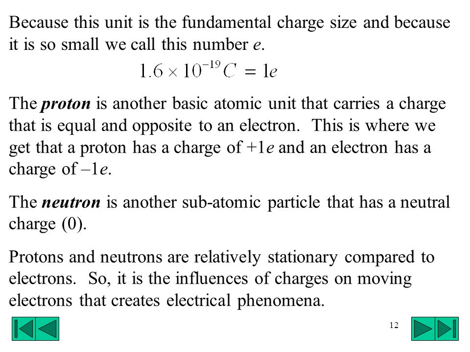 12 The proton is another basic atomic unit that carries a charge that is equal and opposite to an electron. This is where we get that a proton has a c