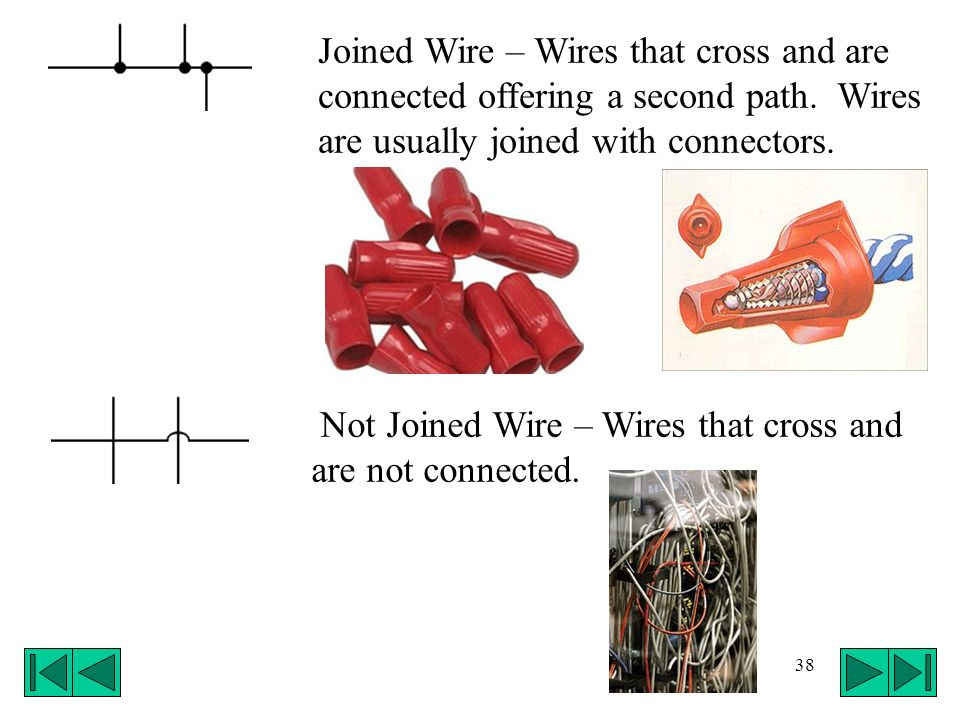38 Joined Wire – Wires that cross and are connected offering a second path. Wires are usually joined with connectors. Not Joined Wire – Wires that cro