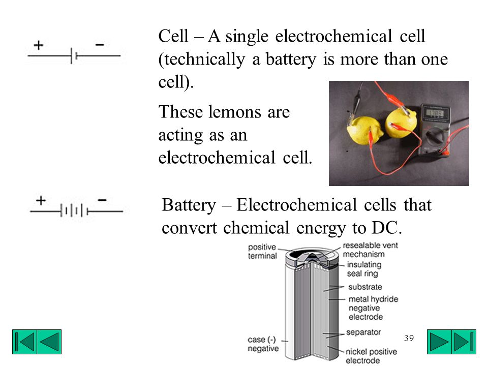 39 Battery – Electrochemical cells that convert chemical energy to DC. Cell – A single electrochemical cell (technically a battery is more than one ce