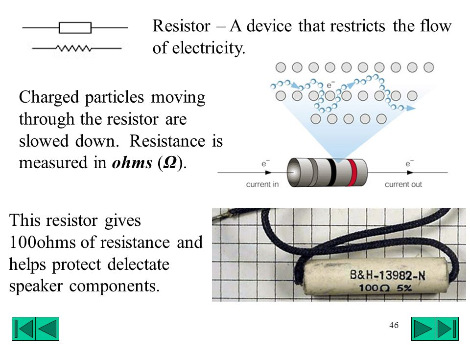 46 Resistor – A device that restricts the flow of electricity. Charged particles moving through the resistor are slowed down. Resistance is measured i