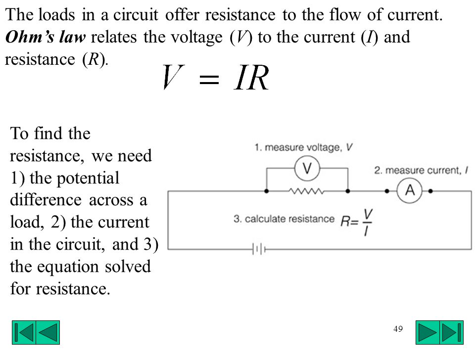 49 The loads in a circuit offer resistance to the flow of current. Ohms law relates the voltage (V) to the current (I) and resistance (R). To find the