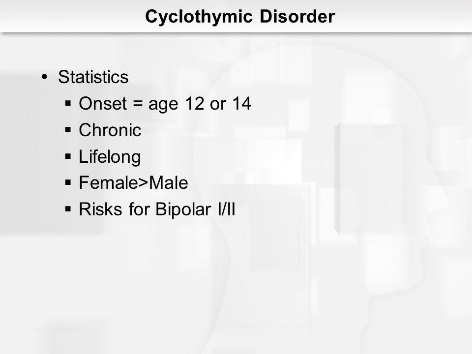 Cyclothymic Disorder Statistics Onset = age 12 or 14 Chronic Lifelong Female>Male Risks for Bipolar I/II
