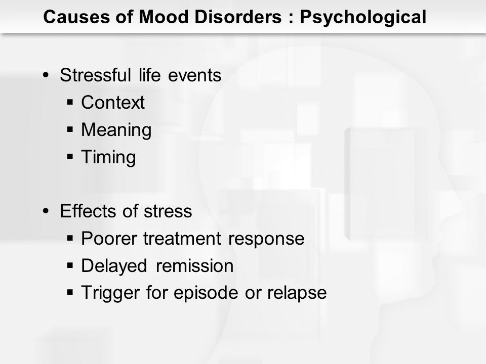 Stressful life events Context Meaning Timing Effects of stress Poorer treatment response Delayed remission Trigger for episode or relapse Causes of Mo