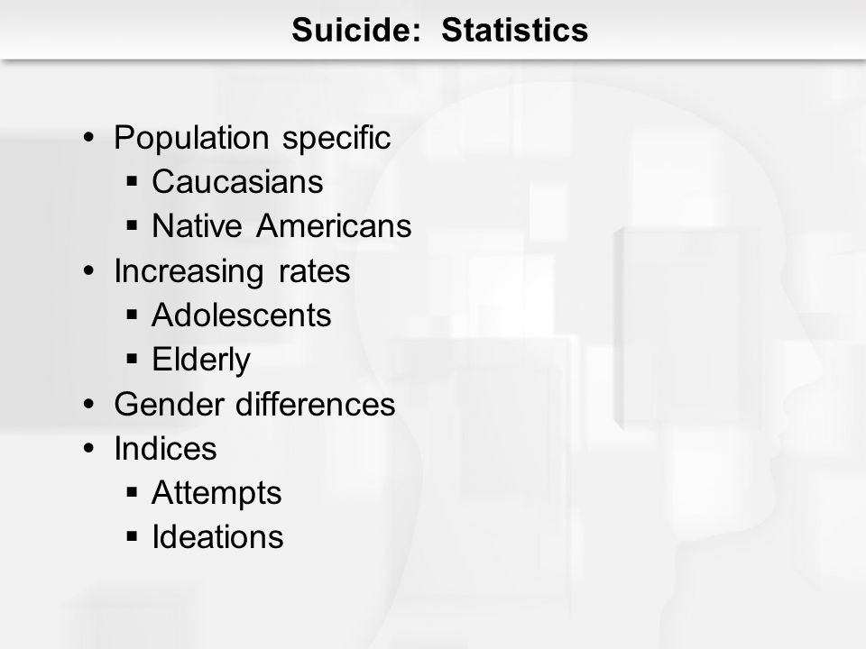 Suicide: Statistics Population specific Caucasians Native Americans Increasing rates Adolescents Elderly Gender differences Indices Attempts Ideations