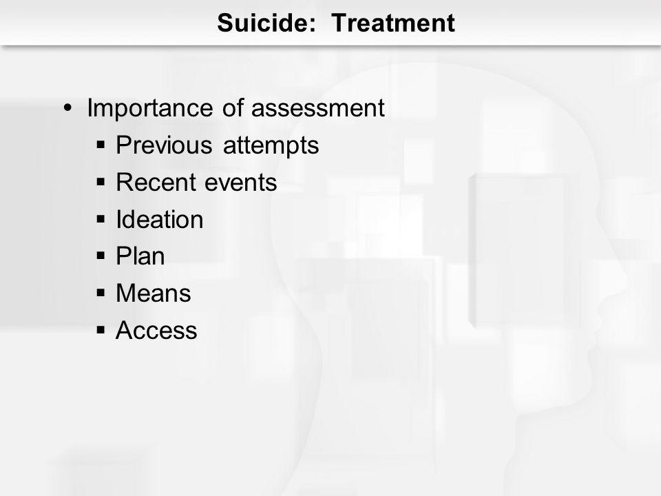 Suicide: Treatment Importance of assessment Previous attempts Recent events Ideation Plan Means Access
