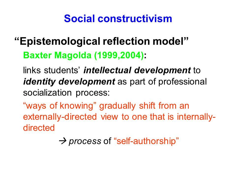 Social constructivism Epistemological reflection model Baxter Magolda (1999,2004): links students intellectual development to identity development as