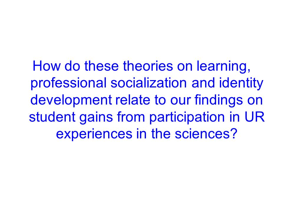 How do these theories on learning, professional socialization and identity development relate to our findings on student gains from participation in U