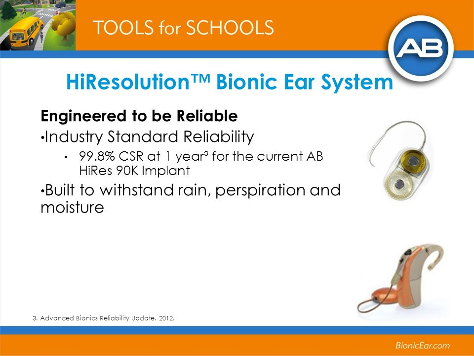 HiResolution Bionic Ear System Engineered to be Reliable Industry Standard Reliability 99.8% CSR at 1 year³ for the current AB HiRes 90K Implant Built to withstand rain, perspiration and moisture 3.