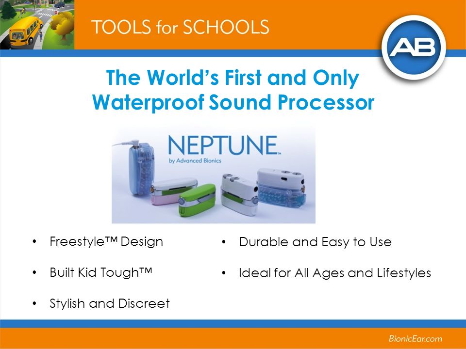 The Worlds First and Only Waterproof Sound Processor Freestyle Design Built Kid Tough Stylish and Discreet Durable and Easy to Use Ideal for All Ages