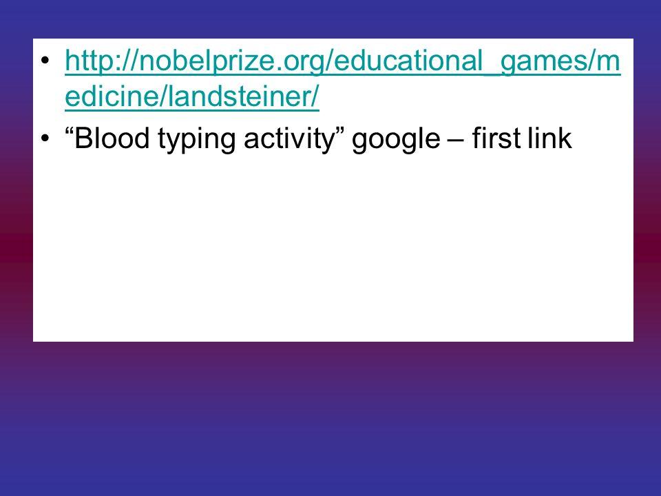 http://nobelprize.org/educational_games/m edicine/landsteiner/http://nobelprize.org/educational_games/m edicine/landsteiner/ Blood typing activity goo
