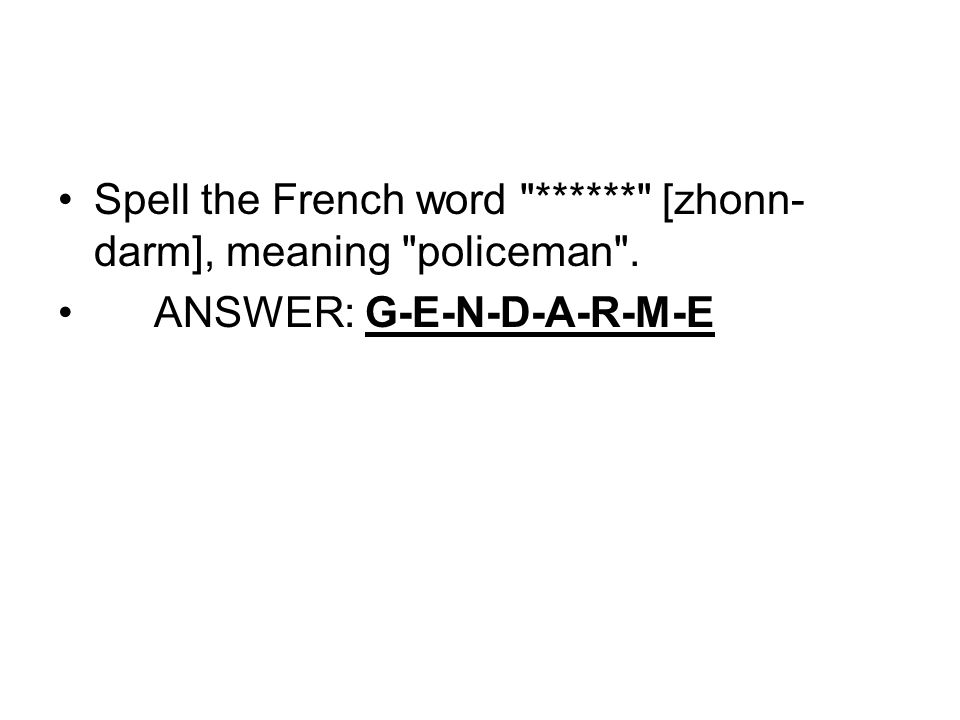 Spell the French word