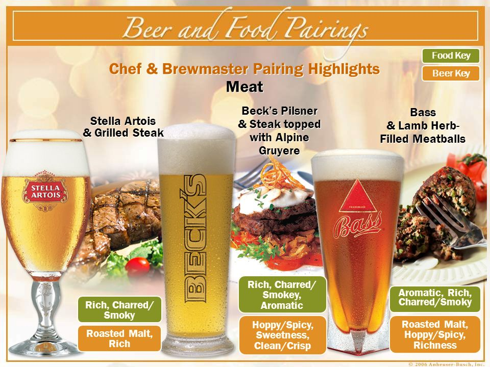 Chef & Brewmaster Pairing Highlights Meat Becks Pilsner & Steak topped with Alpine Gruyere Bass & Lamb Herb- Filled Meatballs Rich, Charred/ Smoky Roasted Malt, Rich Roasted Malt, Hoppy/Spicy, Richness Aromatic, Rich, Charred/Smoky Rich, Charred/ Smokey, Aromatic Hoppy/Spicy, Sweetness, Clean/Crisp Food Key Beer Key Stella Artois & Grilled Steak