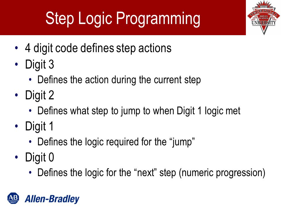 Step Logic Programming 4 digit code defines step actions Digit 3 Defines the action during the current step Digit 2 Defines what step to jump to when Digit 1 logic met Digit 1 Defines the logic required for the jump Digit 0 Defines the logic for the next step (numeric progression)