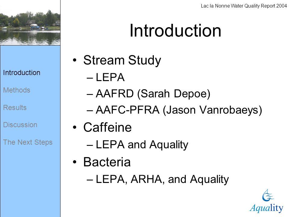 Introduction Methods Results Discussion The Next Steps Stream Study –LEPA –AAFRD (Sarah Depoe) –AAFC-PFRA (Jason Vanrobaeys) Caffeine –LEPA and Aquali