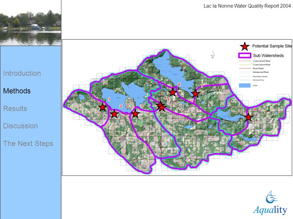 Introduction Methods Results Discussion The Next Steps Lac la Nonne Water Quality Report 2004