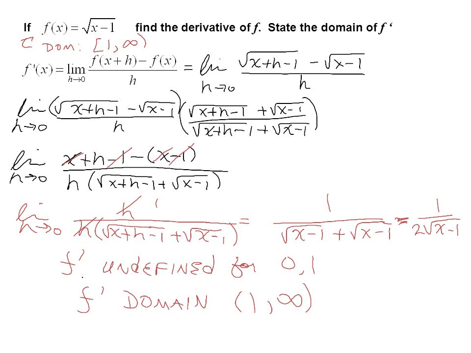 If find the derivative of f. State the domain of f