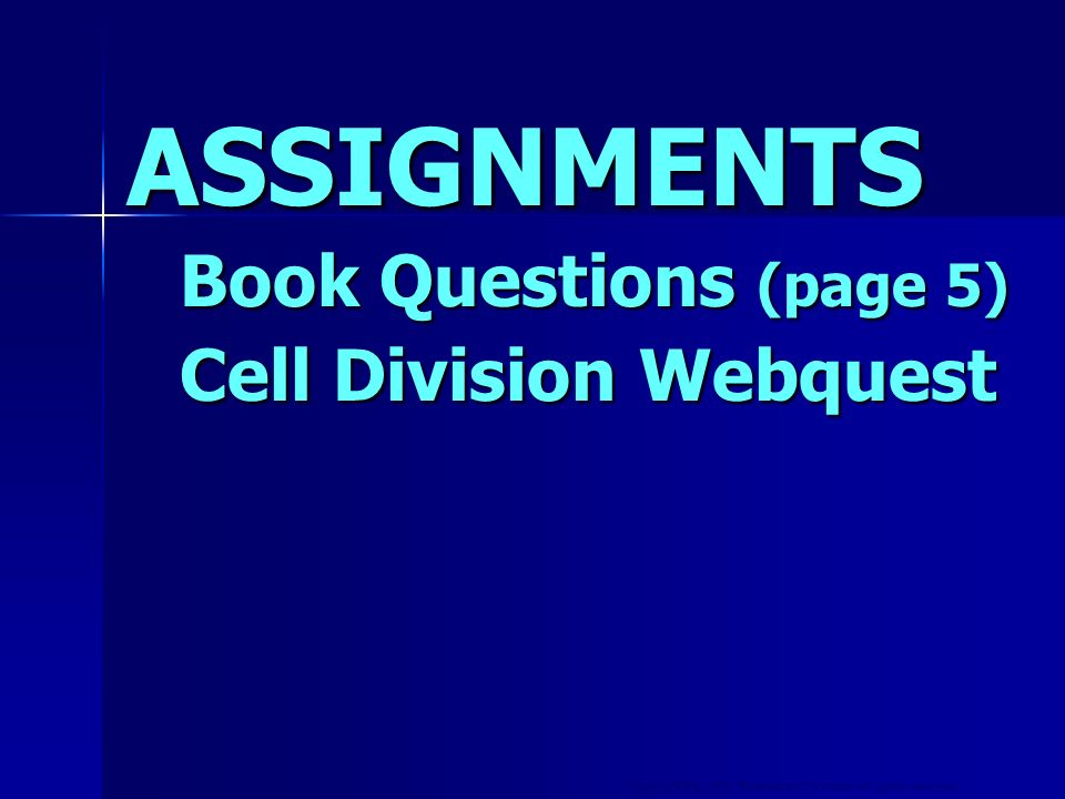 Copyright © by Holt, Rinehart and Winston. All rights reserved. ASSIGNMENTS Book Questions (page 5) Cell Division Webquest