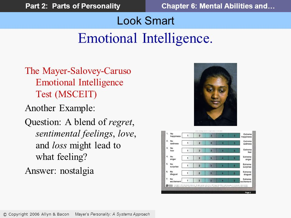 Look Smart © Copyright 2006 Allyn & Bacon Mayers Personality: A Systems Approach Part 2: Parts of PersonalityChapter 6: Mental Abilities and… Emotional Intelligence.