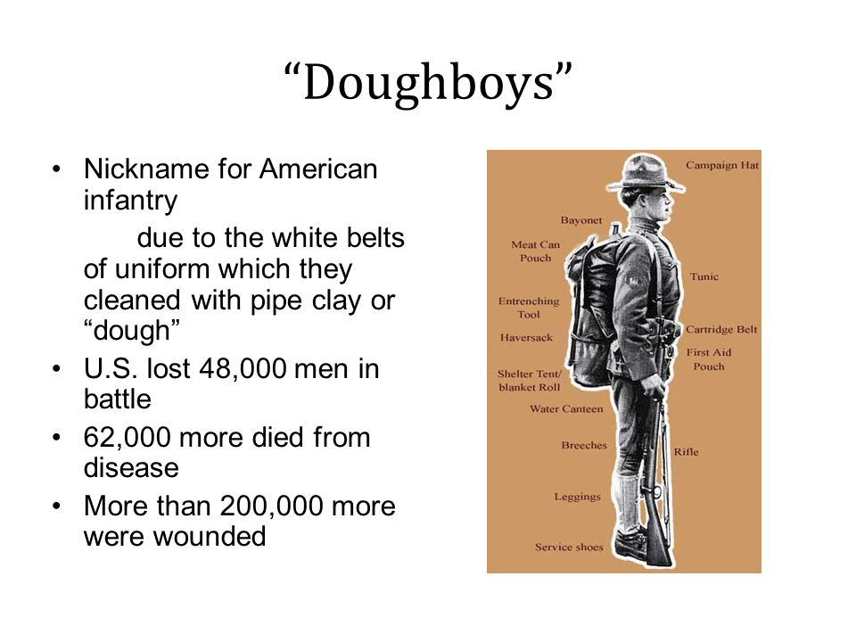 Doughboys Nickname for American infantry due to the white belts of uniform which they cleaned with pipe clay or dough U.S.