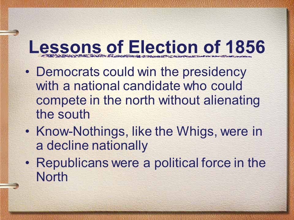 Lessons of Election of 1856 Democrats could win the presidency with a national candidate who could compete in the north without alienating the south K