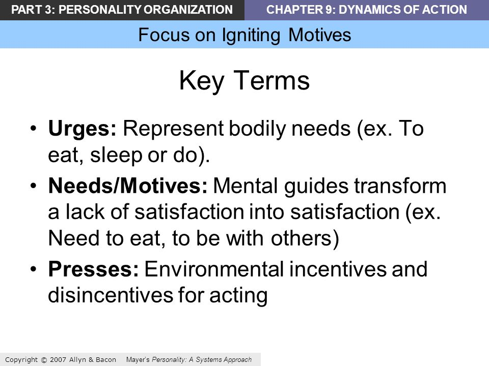 PART 3: PERSONALITY ORGANIZATIONCHAPTER 9: DYNAMICS OF ACTION Focus on Igniting Motives Copyright © 2007 Allyn & Bacon Mayers Personality: A Systems Approach Key Terms Urges: Represent bodily needs (ex.