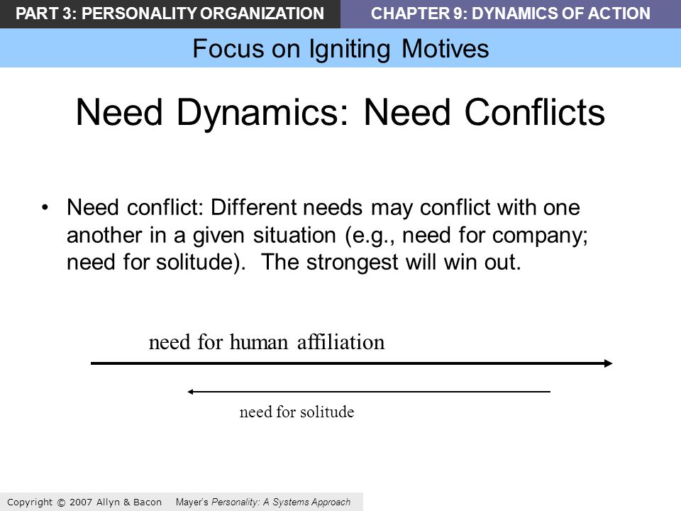 PART 3: PERSONALITY ORGANIZATIONCHAPTER 9: DYNAMICS OF ACTION Focus on Igniting Motives Copyright © 2007 Allyn & Bacon Mayers Personality: A Systems Approach Need Dynamics: Need Conflicts Need conflict: Different needs may conflict with one another in a given situation (e.g., need for company; need for solitude).