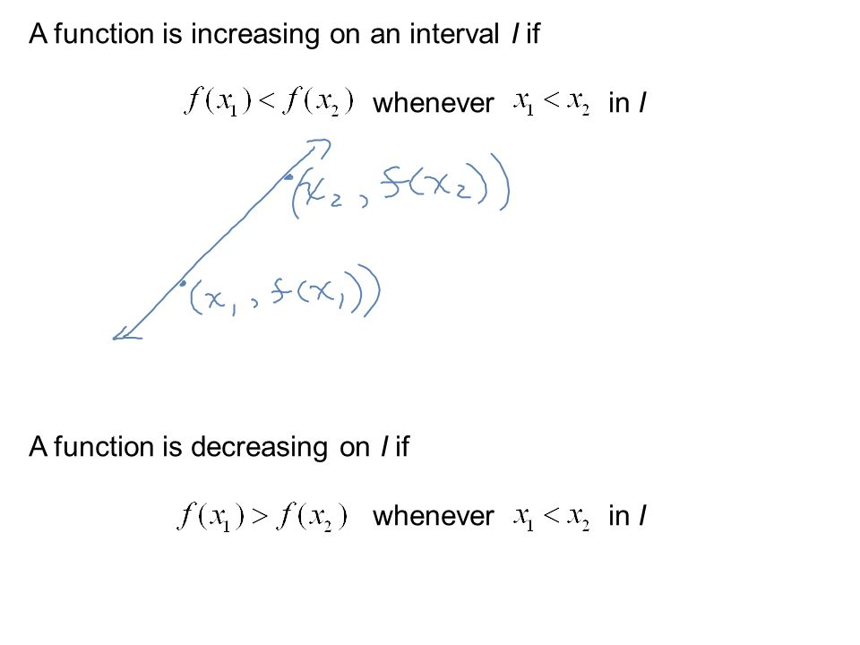 A function is increasing on an interval I if whenever in I A function is decreasing on I if whenever in I