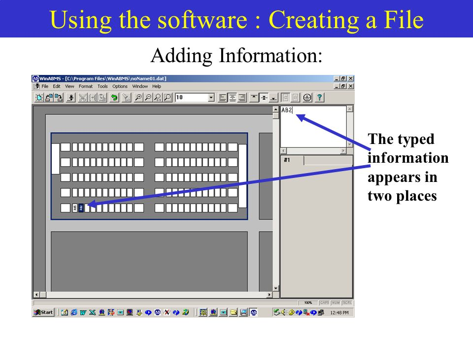 Using the software : Creating a File Adding Information: The typed information appears in two places