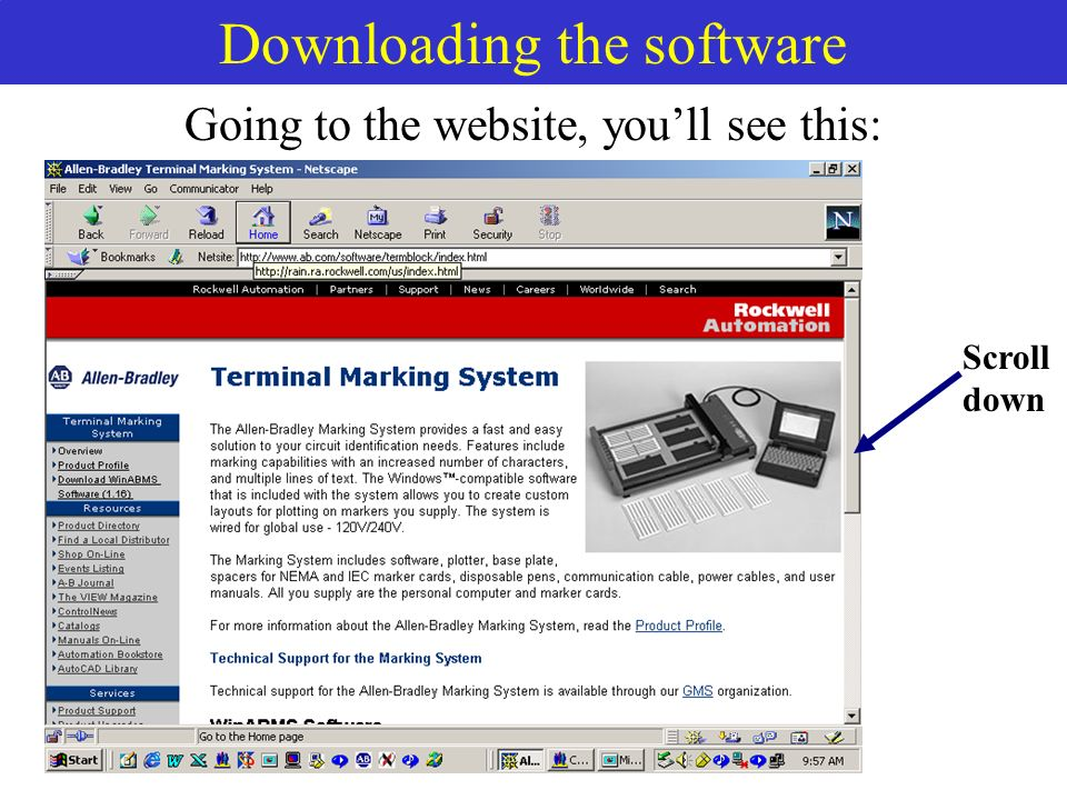Downloading the software Scroll down Going to the website, youll see this: