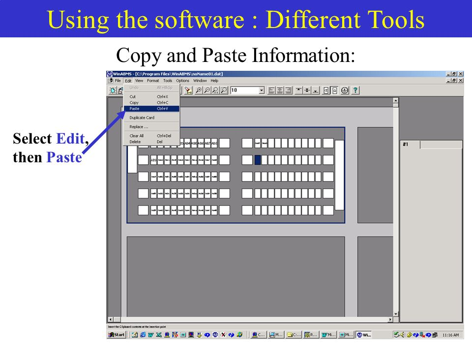 Using the software : Different Tools Copy and Paste Information: Select Edit, then Paste