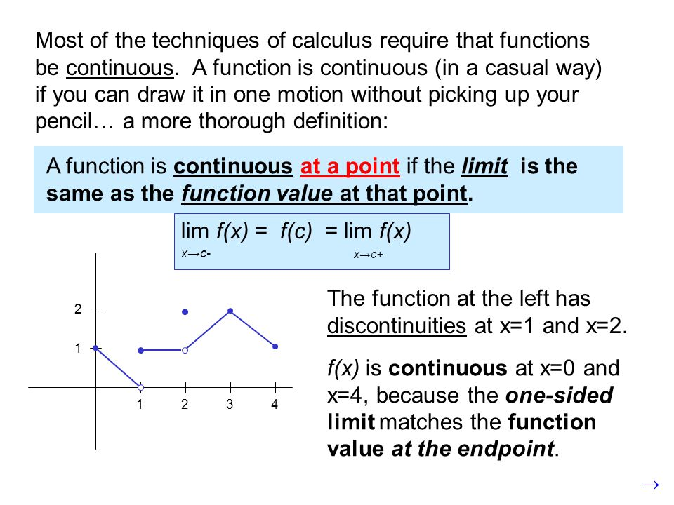 Most of the techniques of calculus require that functions be continuous. A function is continuous (in a casual way) if you can draw it in one motion w