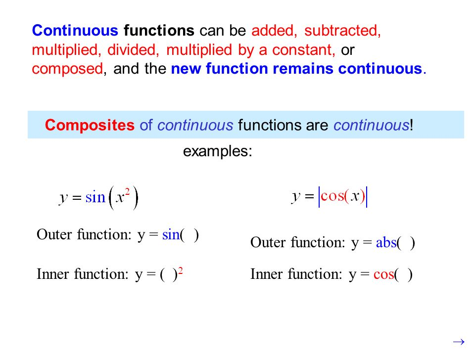 Continuous functions can be added, subtracted, multiplied, divided, multiplied by a constant, or composed, and the new function remains continuous.