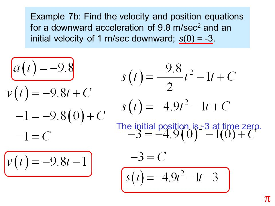 Example 7b: Find the velocity and position equations for a downward acceleration of 9.8 m/sec 2 and an initial velocity of 1 m/sec downward; s(0) = -3.