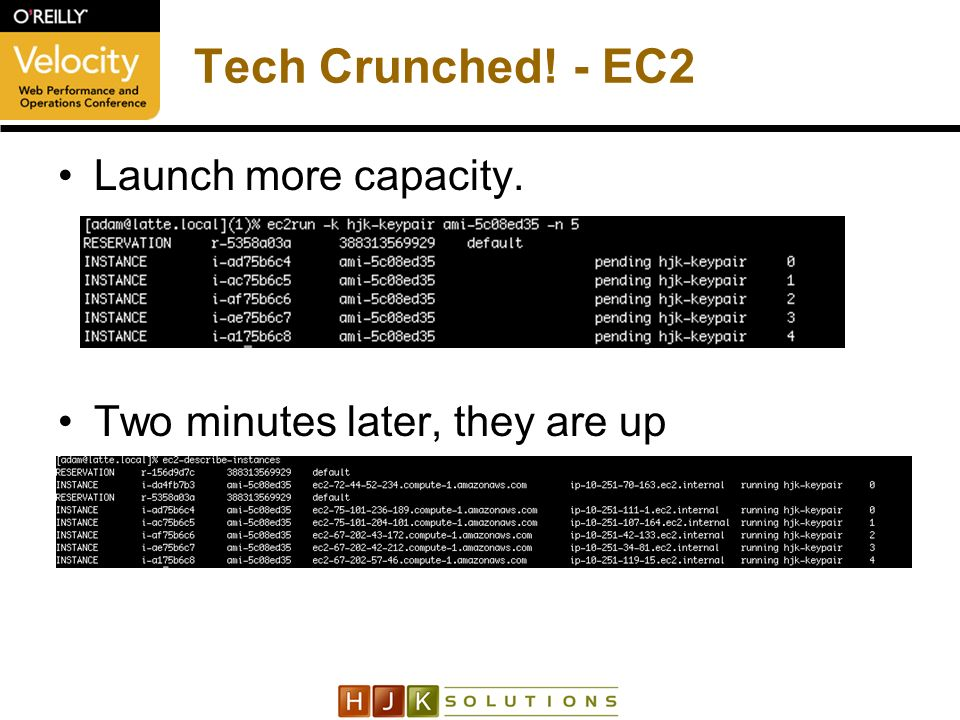 Tech Crunched! - EC2 Launch more capacity. Two minutes later, they are up