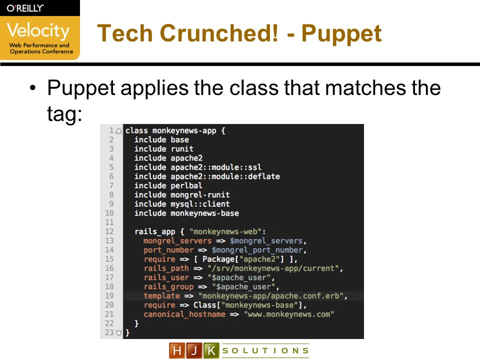 Tech Crunched! - Puppet Puppet applies the class that matches the tag: