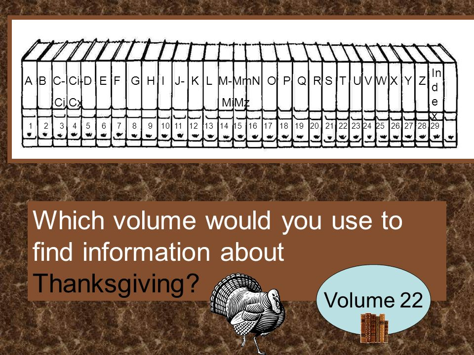 A B C- Ci-D E F G H I J- K L M-MmN O P Q R S T U V W X Y Z Ci Cx MiMz In d e x Which volume would you use to find information about Thanksgiving.