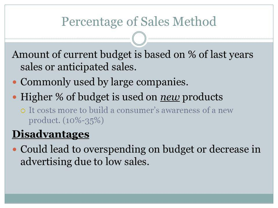 Percentage of Sales Method Amount of current budget is based on % of last years sales or anticipated sales. Commonly used by large companies. Higher %