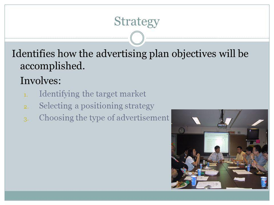 Strategy Identifies how the advertising plan objectives will be accomplished. Involves: 1. Identifying the target market 2. Selecting a positioning st