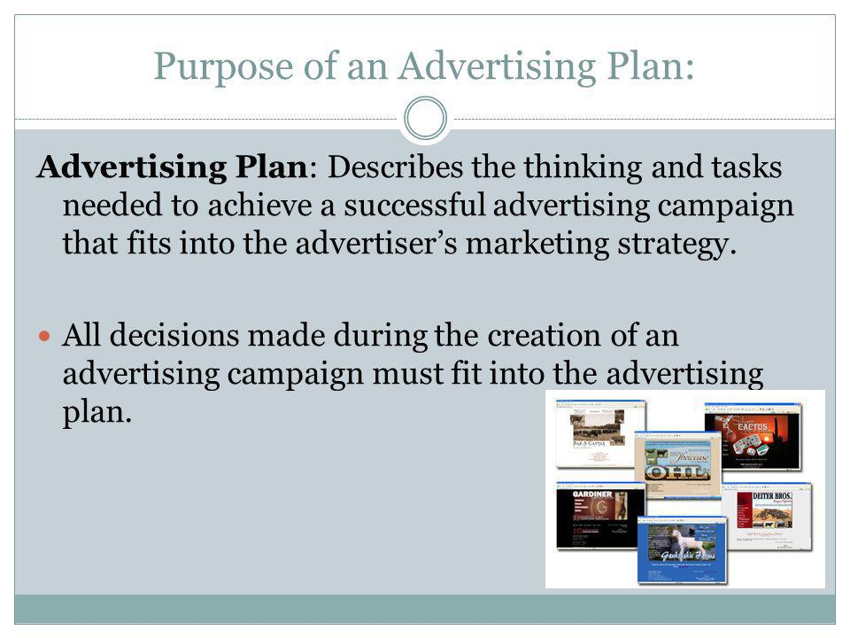 Purpose of an Advertising Plan: Advertising Plan: Describes the thinking and tasks needed to achieve a successful advertising campaign that fits into