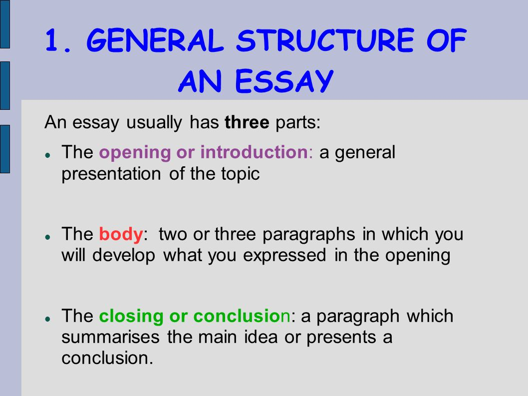 structuring an essay Writing an academic essay means fashioning a coherent set of ideas into an argument because essays are essentially linear—they offer one idea at a time—they must present their ideas in the order that makes most sense to a reader.